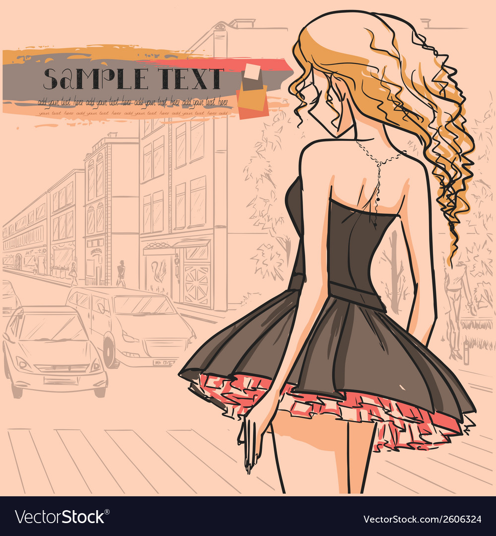 Urban view and slender sexy girl in short dress vector | Price: 1 Credit (USD $1)