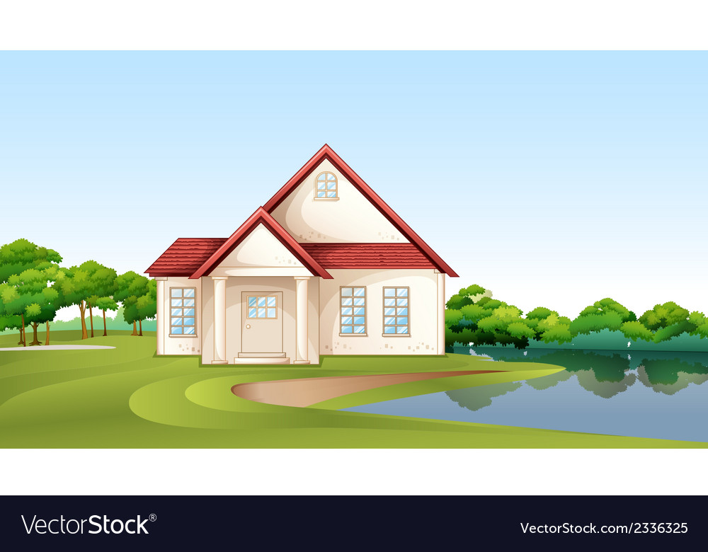 A big concrete house near the river vector | Price: 3 Credit (USD $3)