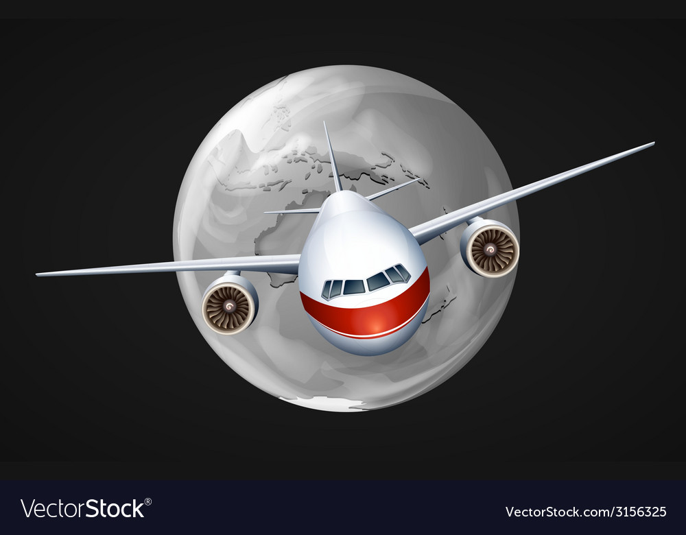 An airplane travelling around the globe vector | Price: 1 Credit (USD $1)