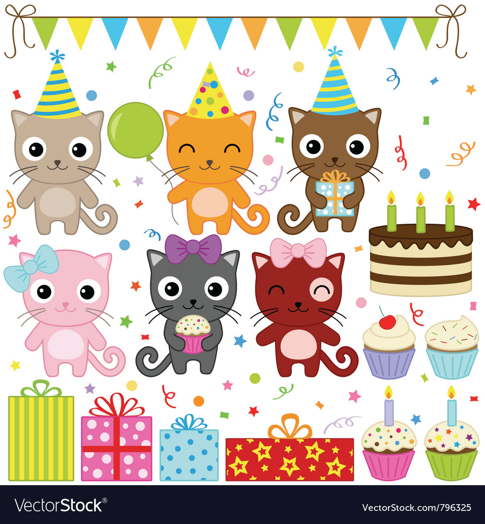 Birthday party cats vector | Price: 1 Credit (USD $1)