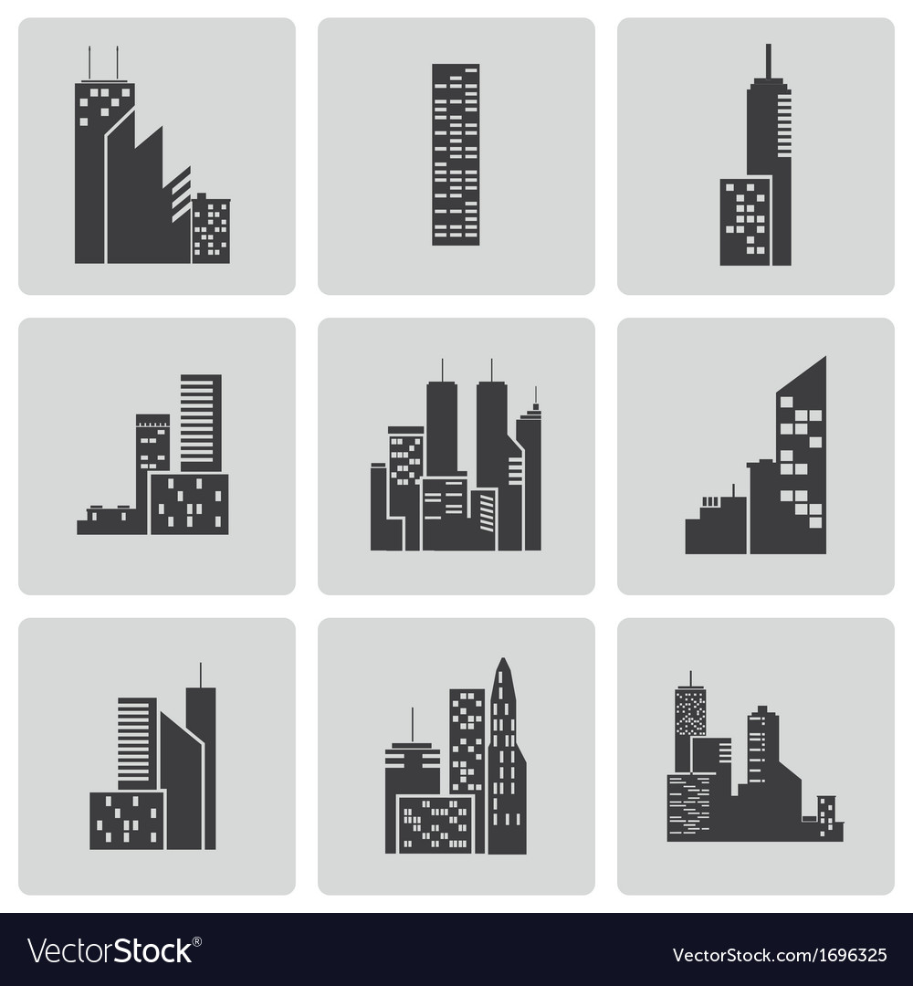 Black building icons set vector | Price: 1 Credit (USD $1)