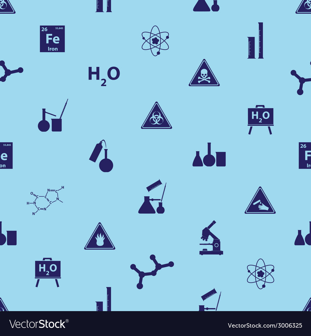 Chemistry icons blue pattern eps10 vector | Price: 1 Credit (USD $1)
