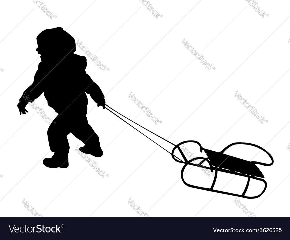Child pulling sledge vector | Price: 1 Credit (USD $1)