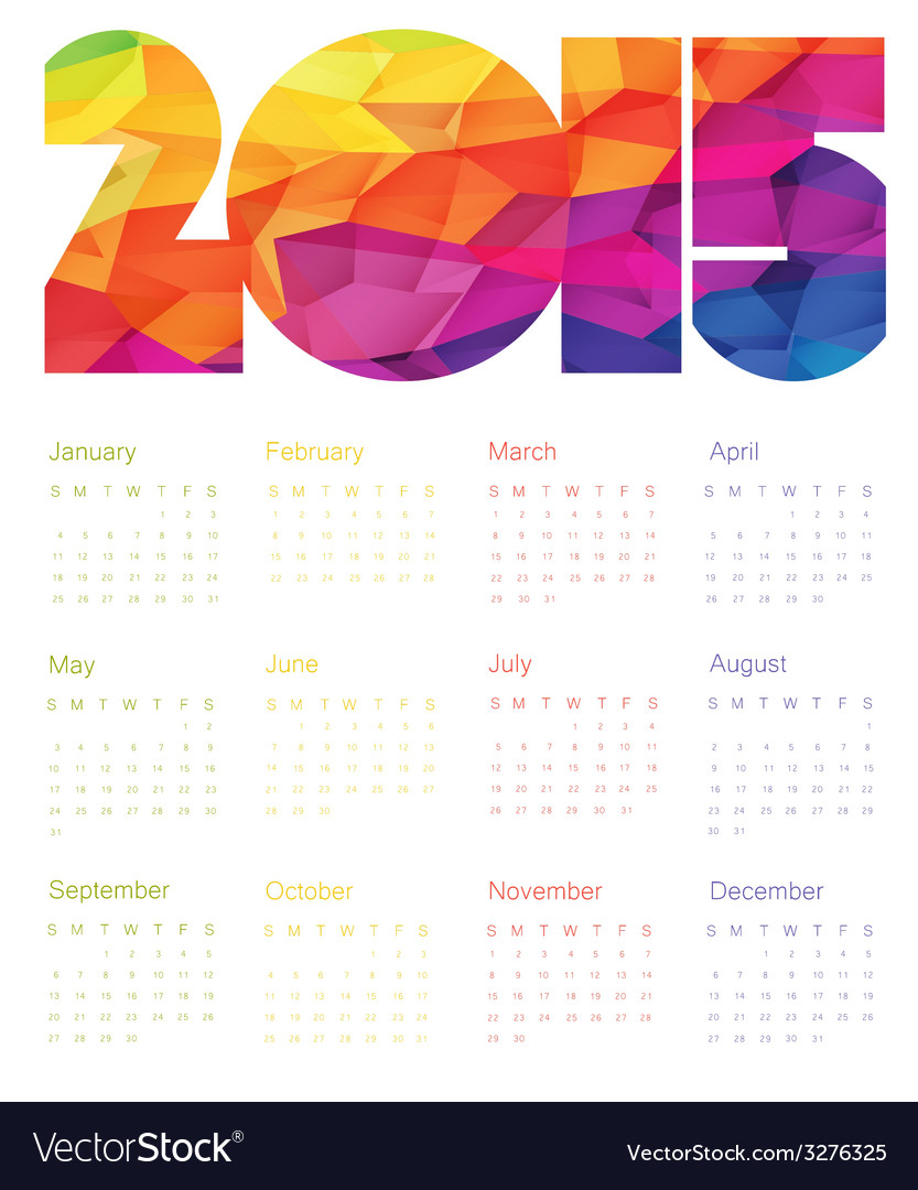 Colorful calendar 2015 design vector | Price: 1 Credit (USD $1)
