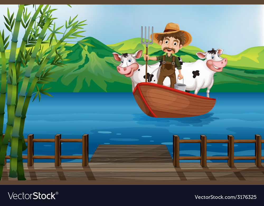 Farmer and boat vector | Price: 3 Credit (USD $3)