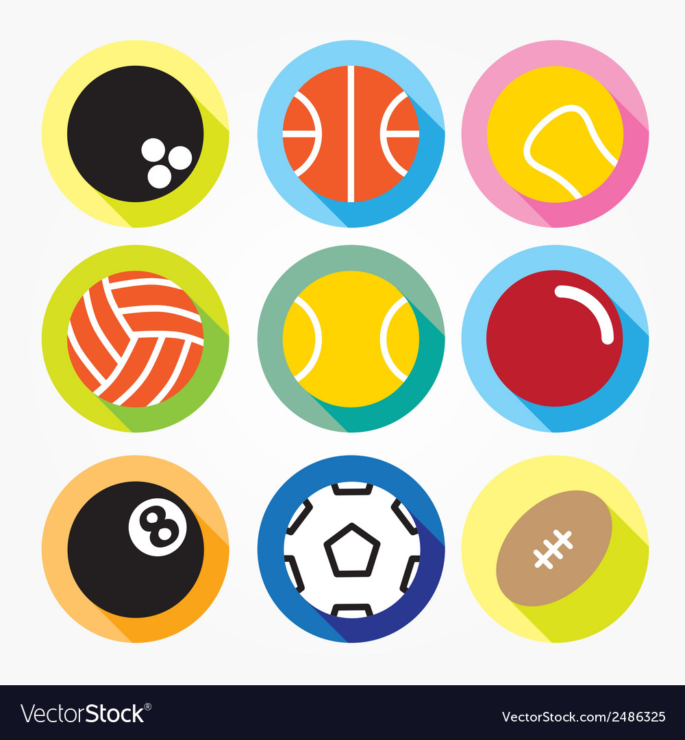 Flat and round sport icons vector | Price: 1 Credit (USD $1)