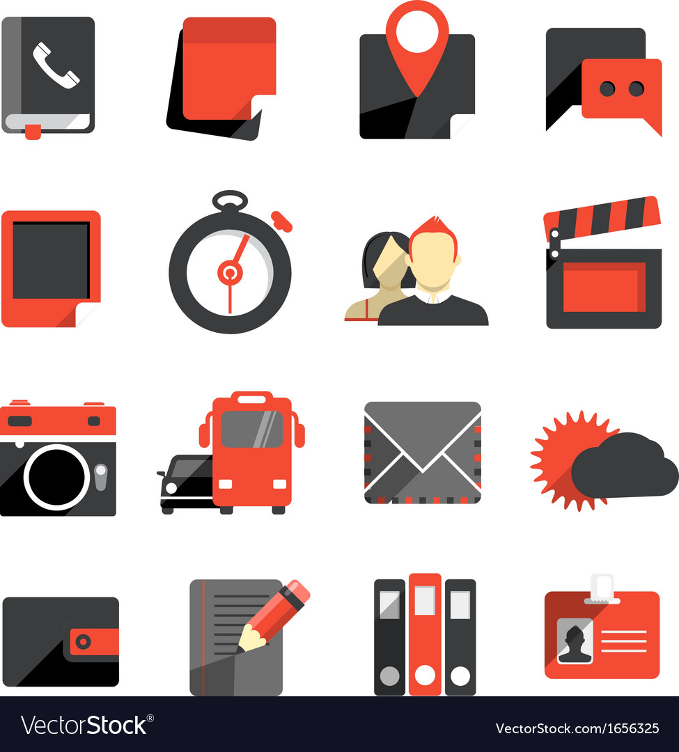 Flat design monochrome icons collection vector   Price: 1 Credit (USD $1)