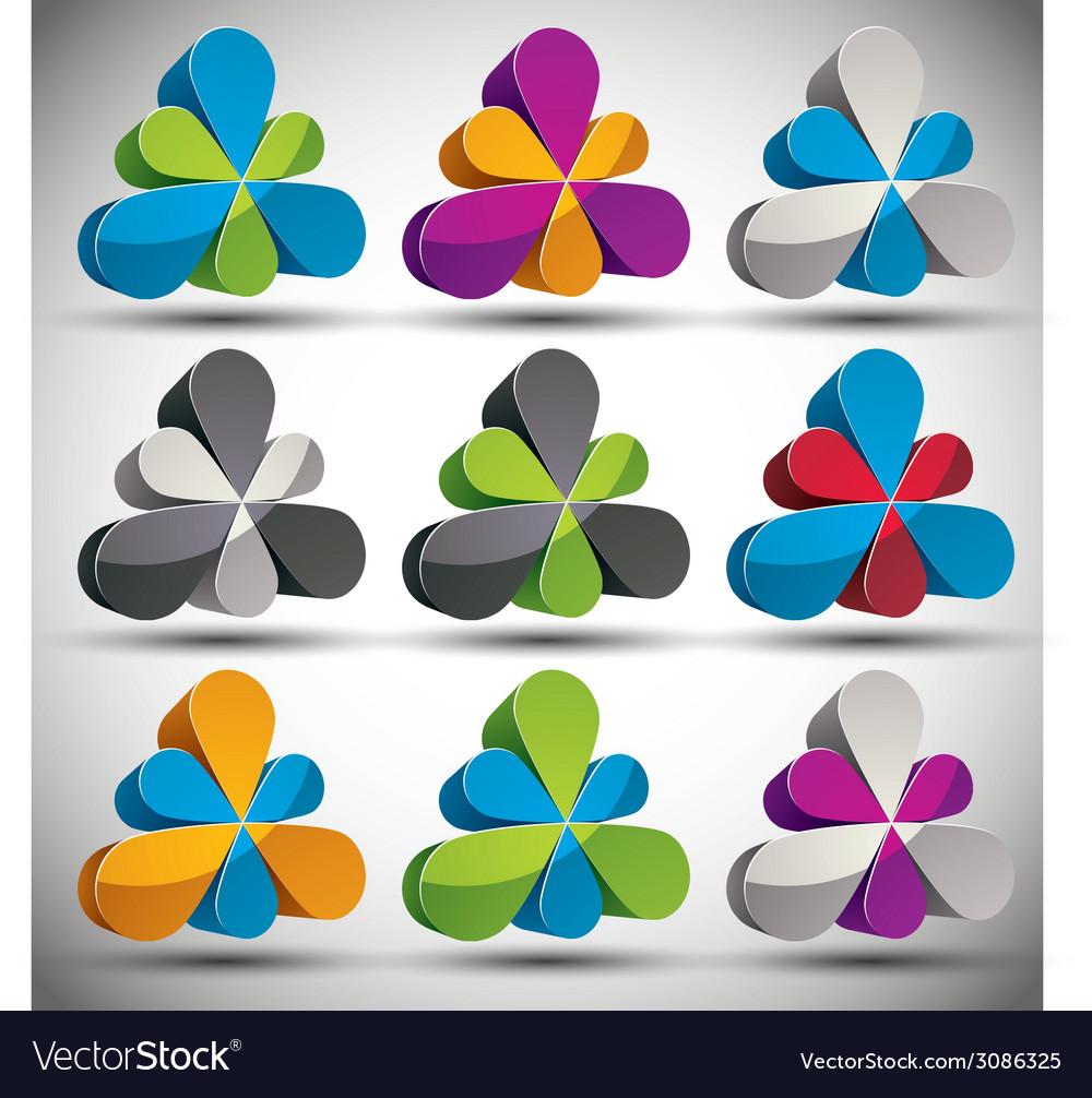 Petals 3d icon set vector | Price: 1 Credit (USD $1)