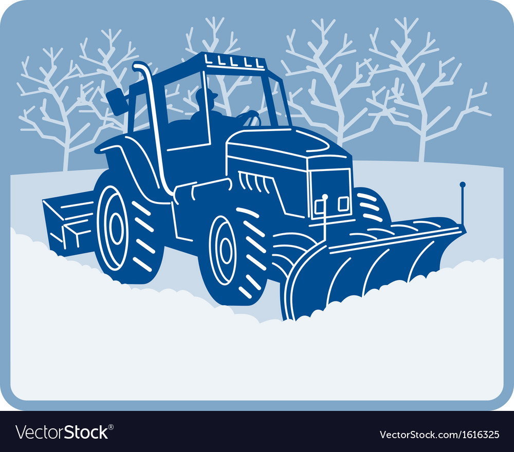 Snow plow tractor plowing winter scene vector | Price: 1 Credit (USD $1)