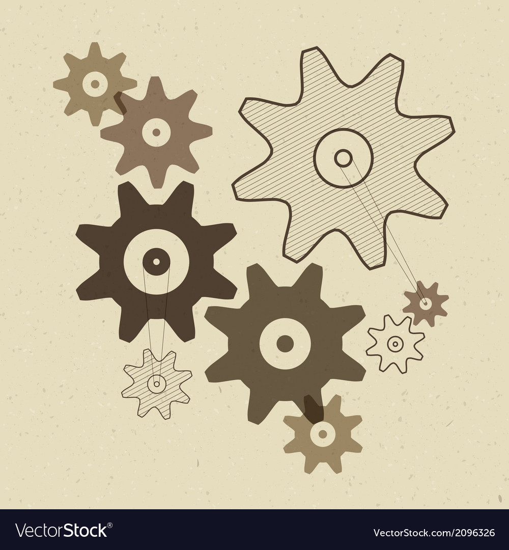 Abstract cogs - gears on recycled paper back vector | Price: 1 Credit (USD $1)