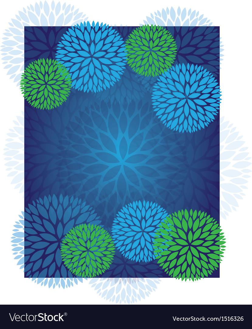 Blue green abstract flower pattern background vector | Price: 1 Credit (USD $1)