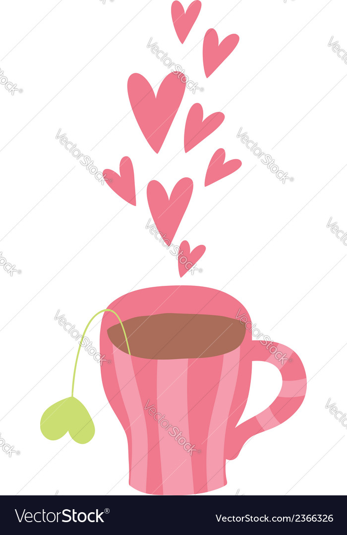 Cute cartoon cup of coffee with hearts vector | Price: 1 Credit (USD $1)