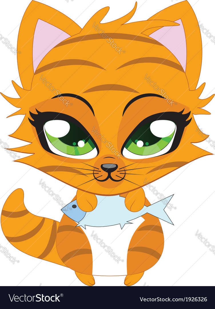 Cute little red kitten vector | Price: 1 Credit (USD $1)