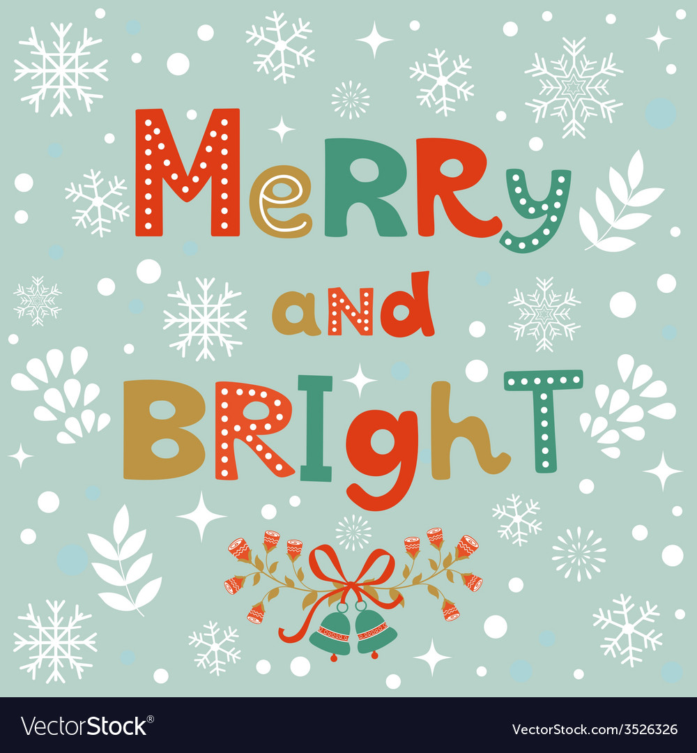 Merry and bright christmas card vector | Price: 1 Credit (USD $1)