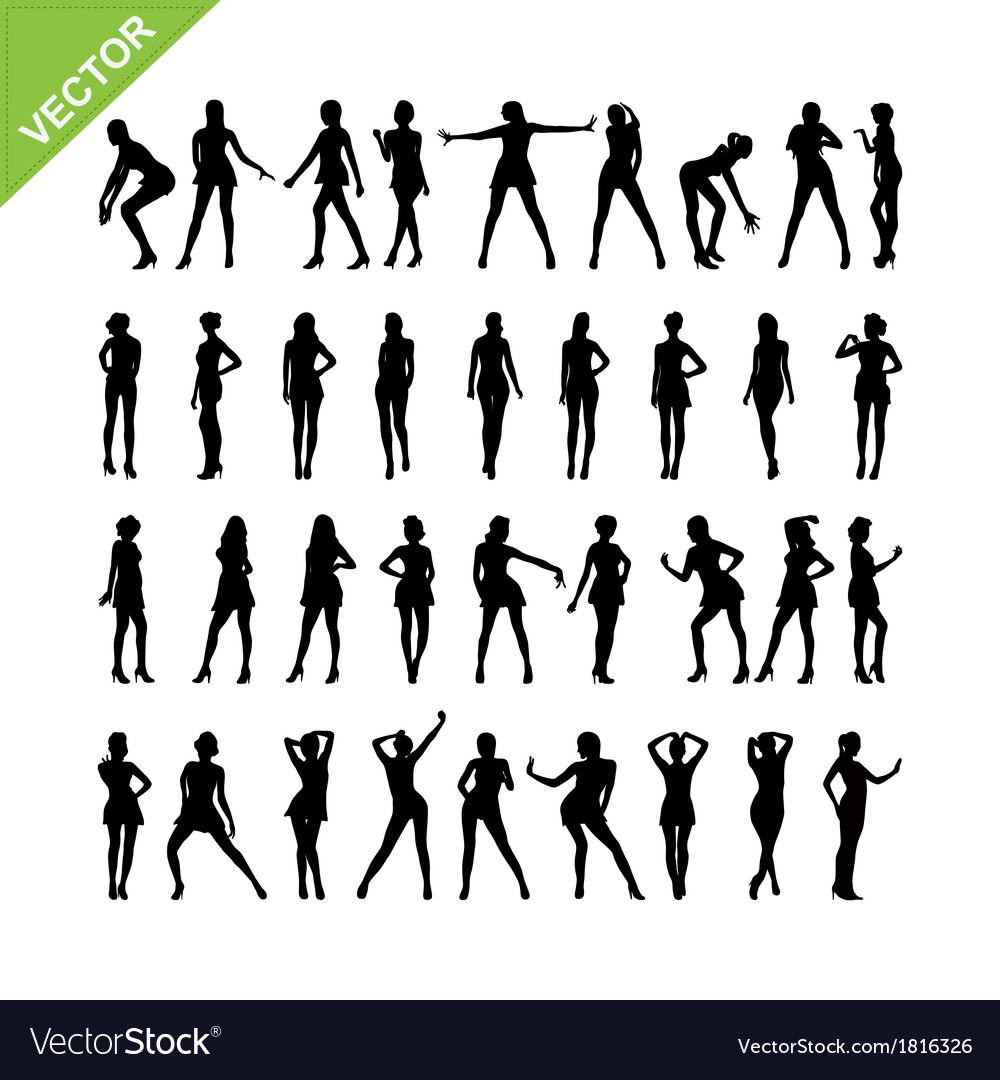 Sexy women silhouettes set 16 vector | Price: 1 Credit (USD $1)