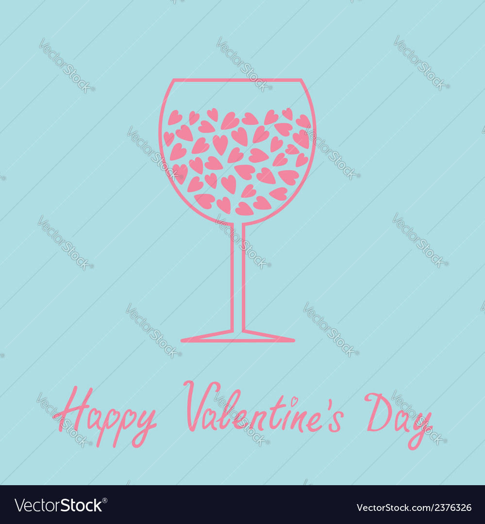 Wine glass with hearts inside love card in flat vector | Price: 1 Credit (USD $1)