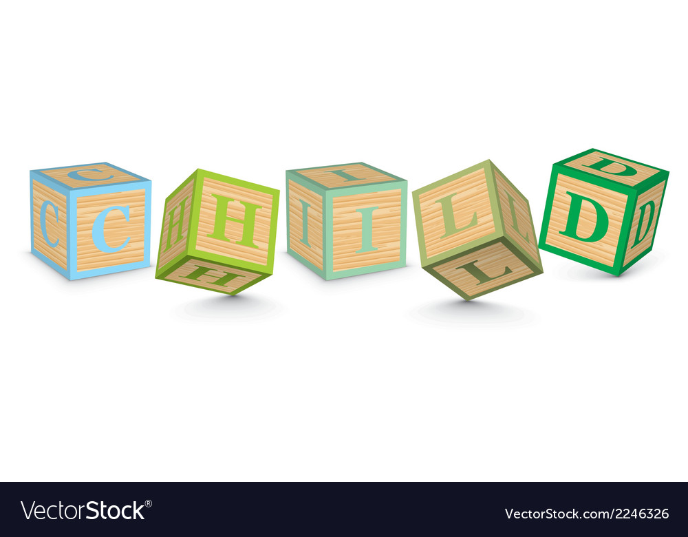 Word child written with alphabet blocks vector | Price: 1 Credit (USD $1)
