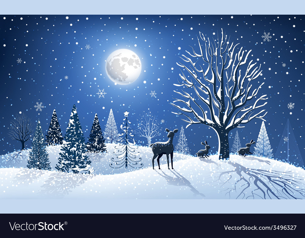 Christmas card with reindeer vector   Price: 1 Credit (USD $1)