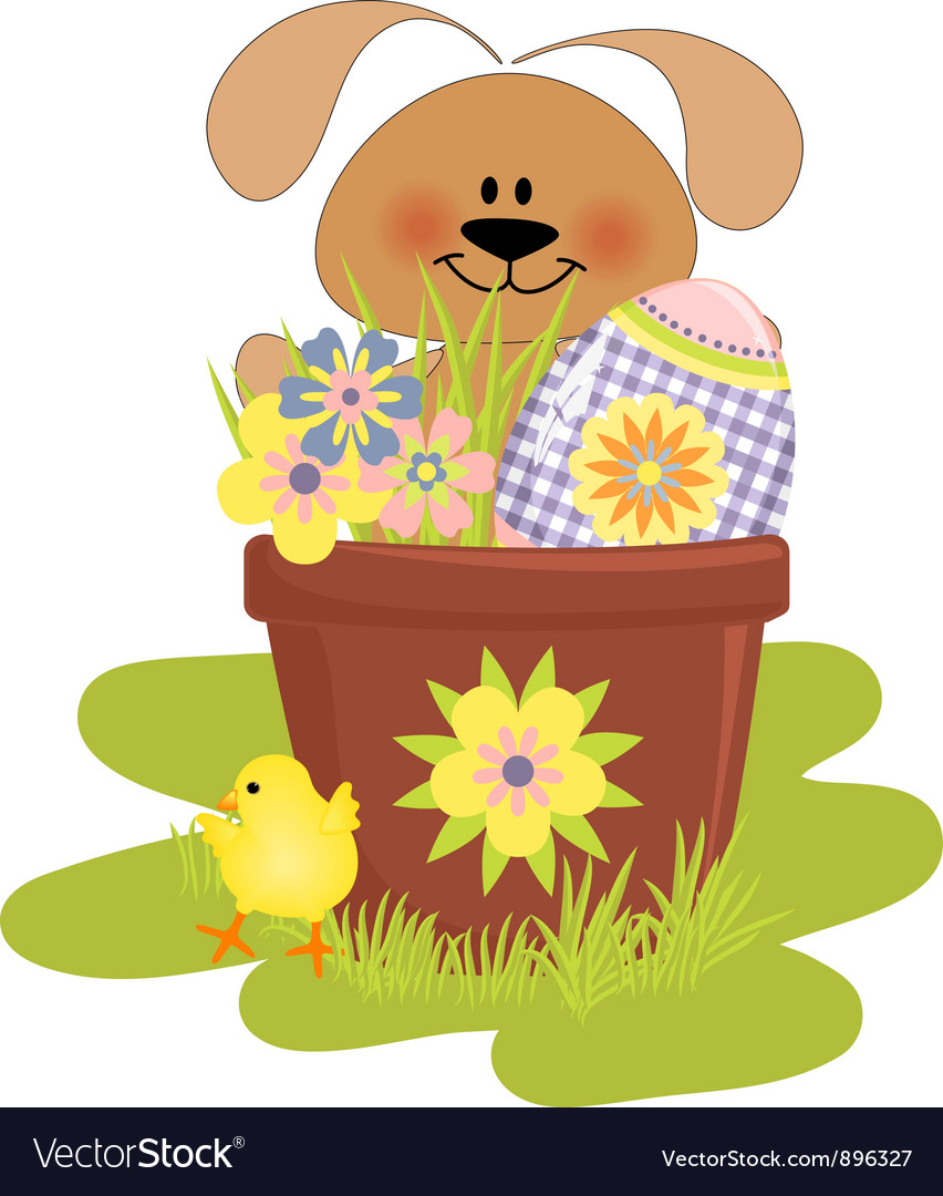 Cute easter with rabbit vector | Price: 3 Credit (USD $3)