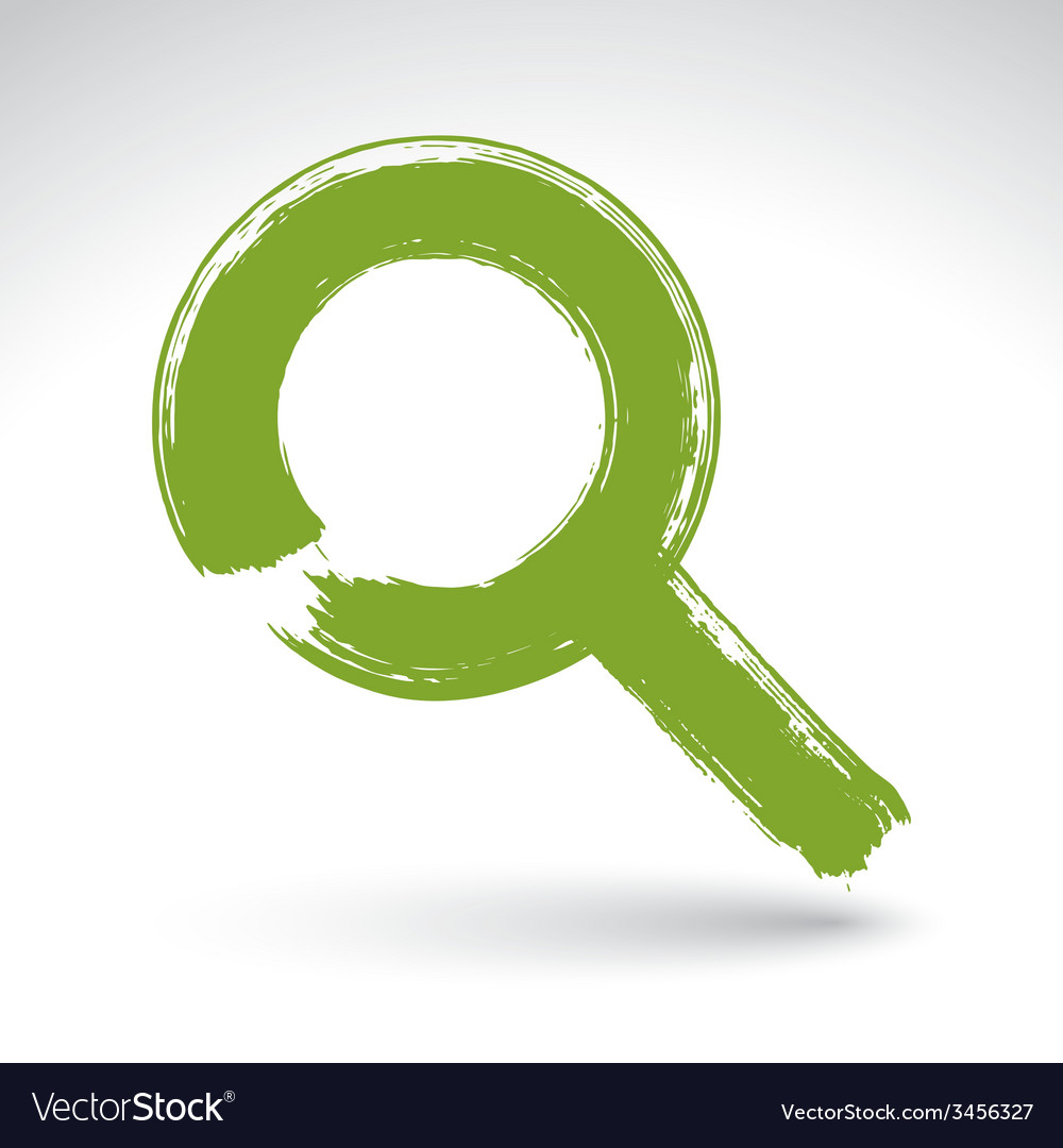 Hand-painted green magnifying glass icon isolated vector | Price: 1 Credit (USD $1)
