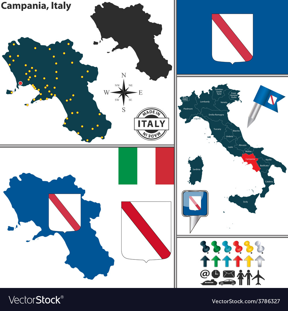 Map of campania vector | Price: 1 Credit (USD $1)