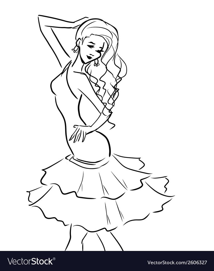 Monochrome girl in short dress vector   Price: 1 Credit (USD $1)