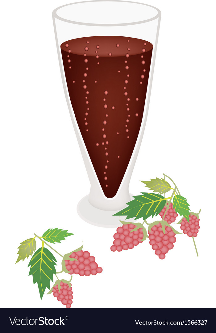 Raspberry juice in glass with blackberry fruit vector | Price: 1 Credit (USD $1)