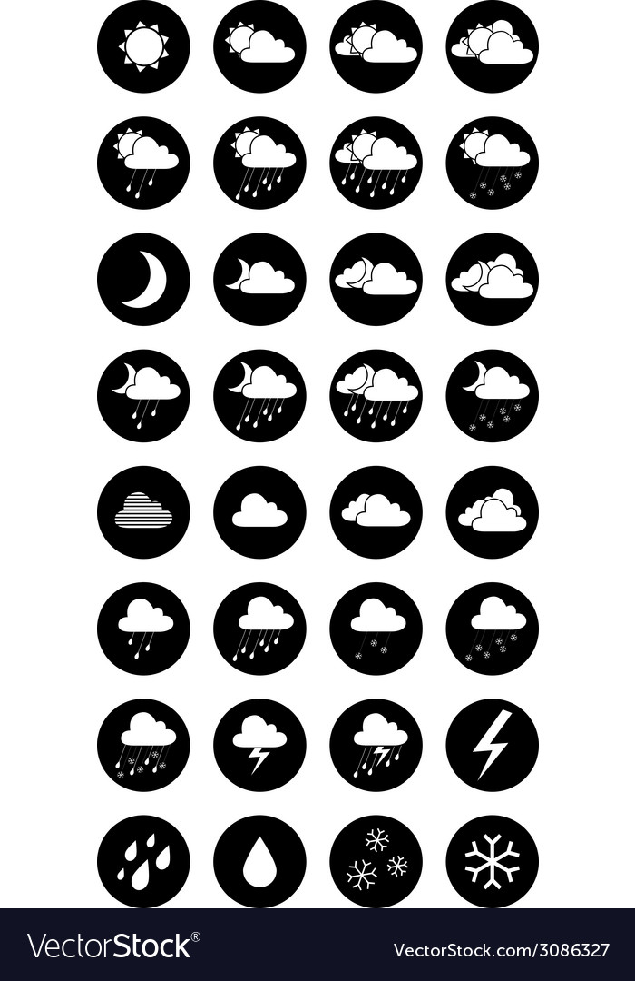 Set of round black and white weather icons vector | Price: 1 Credit (USD $1)