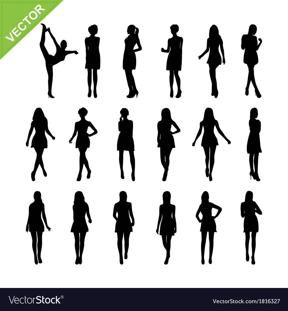 Sexy women silhouettes set 17 vector | Price: 1 Credit (USD $1)