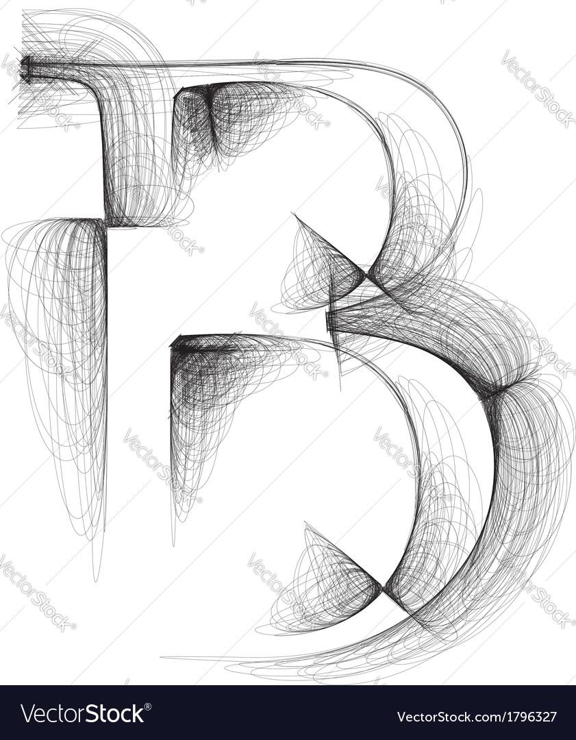 Sketch font letter b vector | Price: 1 Credit (USD $1)