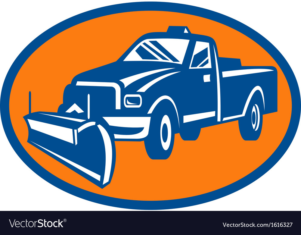 Snow plow pick-up truck inside oval vector | Price: 1 Credit (USD $1)