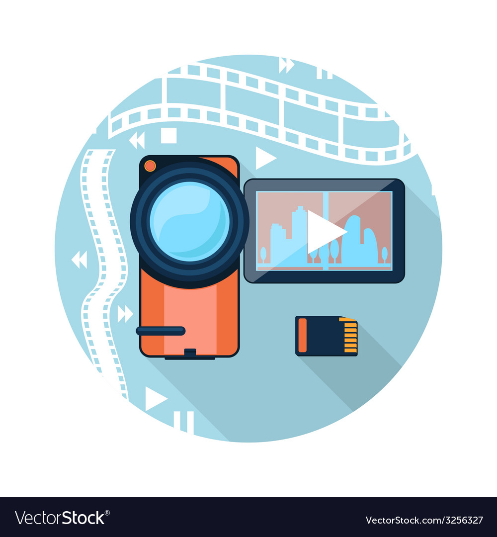 Video camera with cinema tape on background vector | Price: 1 Credit (USD $1)