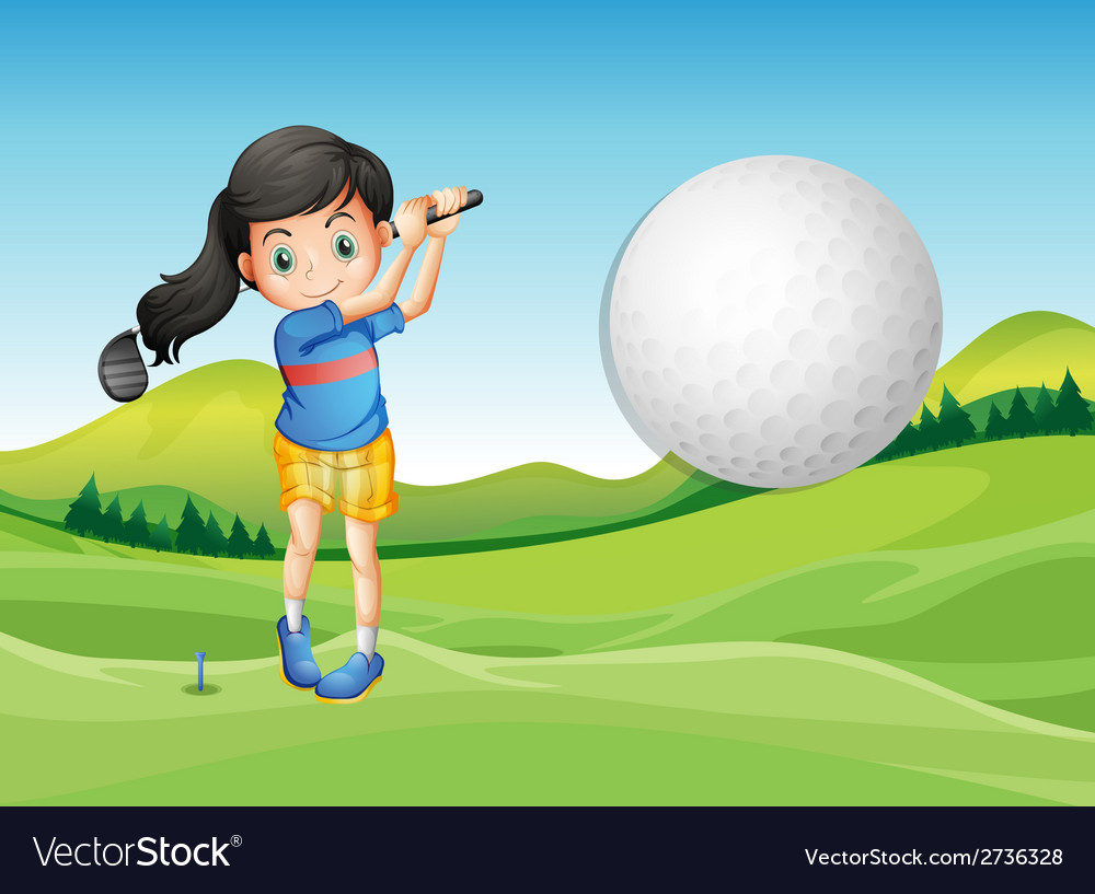 A young lady playing golf vector | Price: 1 Credit (USD $1)