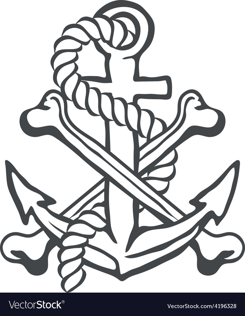 Anchor with rope and crossed bones vector | Price: 1 Credit (USD $1)