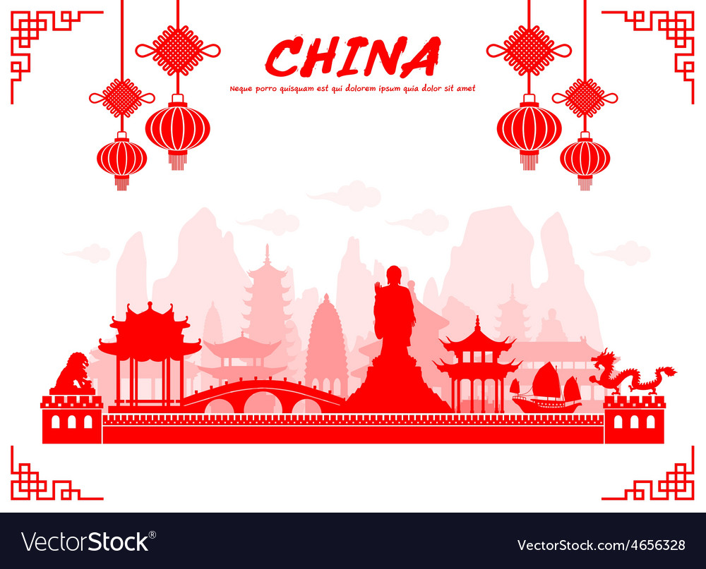 China travel landmarks vector | Price: 1 Credit (USD $1)