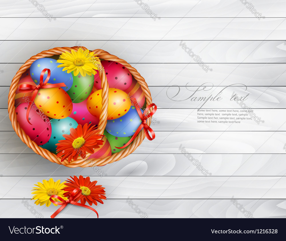 Easter background with color easter eggs in basket vector | Price: 1 Credit (USD $1)