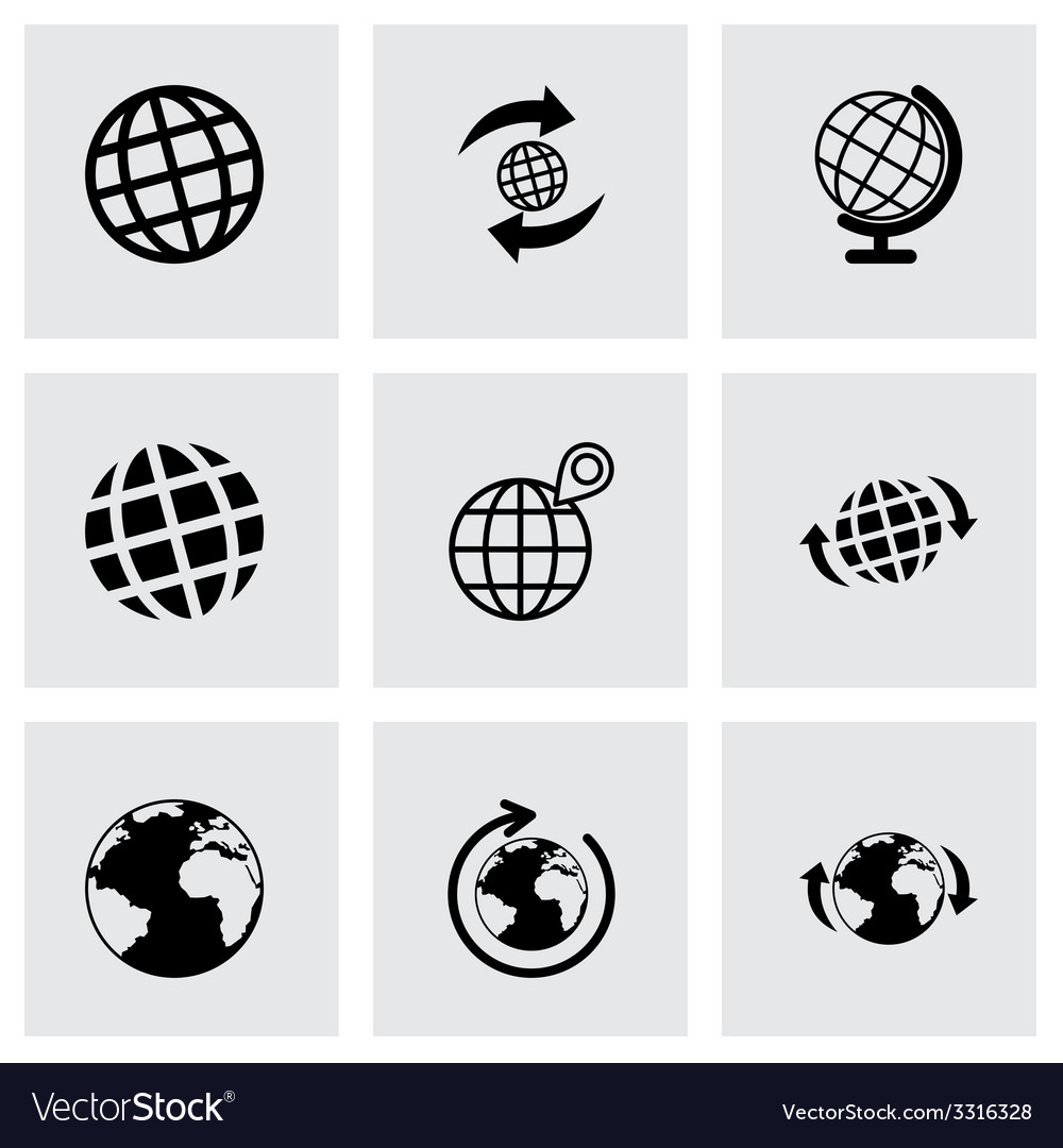 Glode icon set vector | Price: 1 Credit (USD $1)
