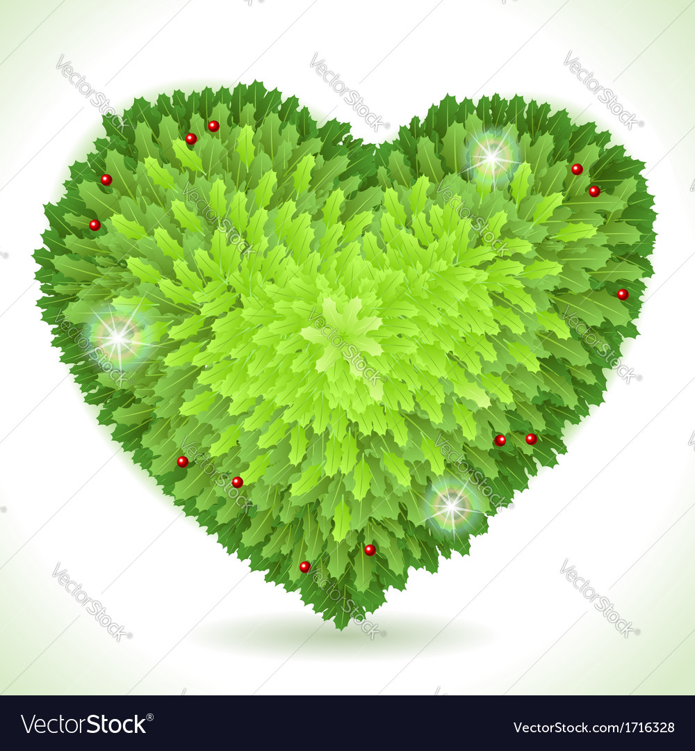 Holly leaves heart placeholder isolated on white vector | Price: 1 Credit (USD $1)