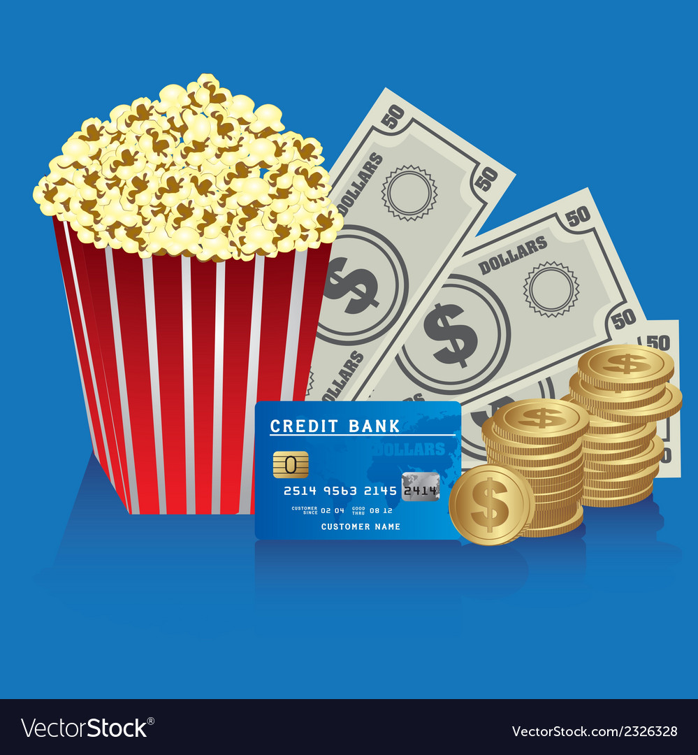 Popcorn with coins bills and credit card vector | Price: 1 Credit (USD $1)