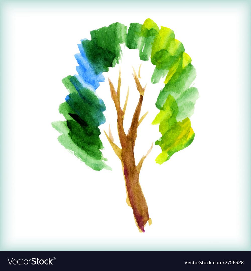 Watercolor green tree vector | Price: 1 Credit (USD $1)