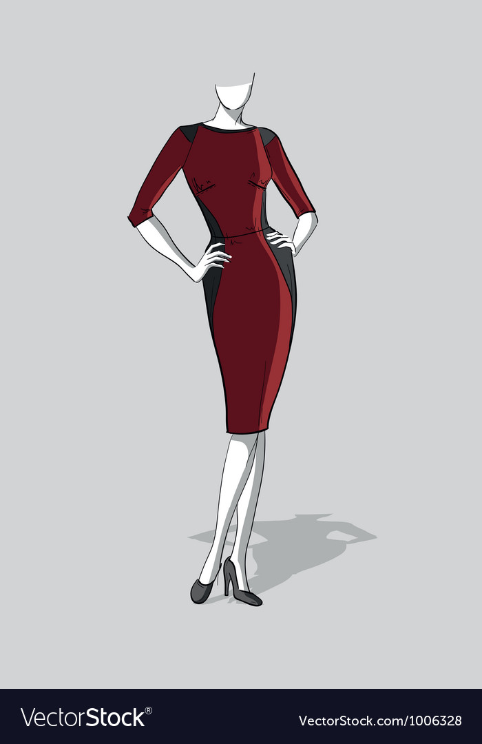 Woman in a dark red dress vector | Price: 3 Credit (USD $3)