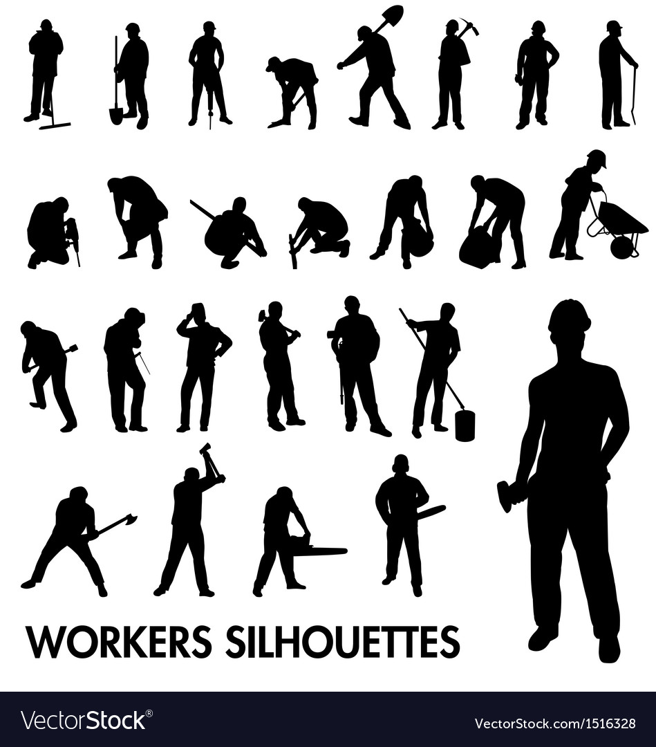 Workers silhouettes vector | Price:  Credit (USD $)