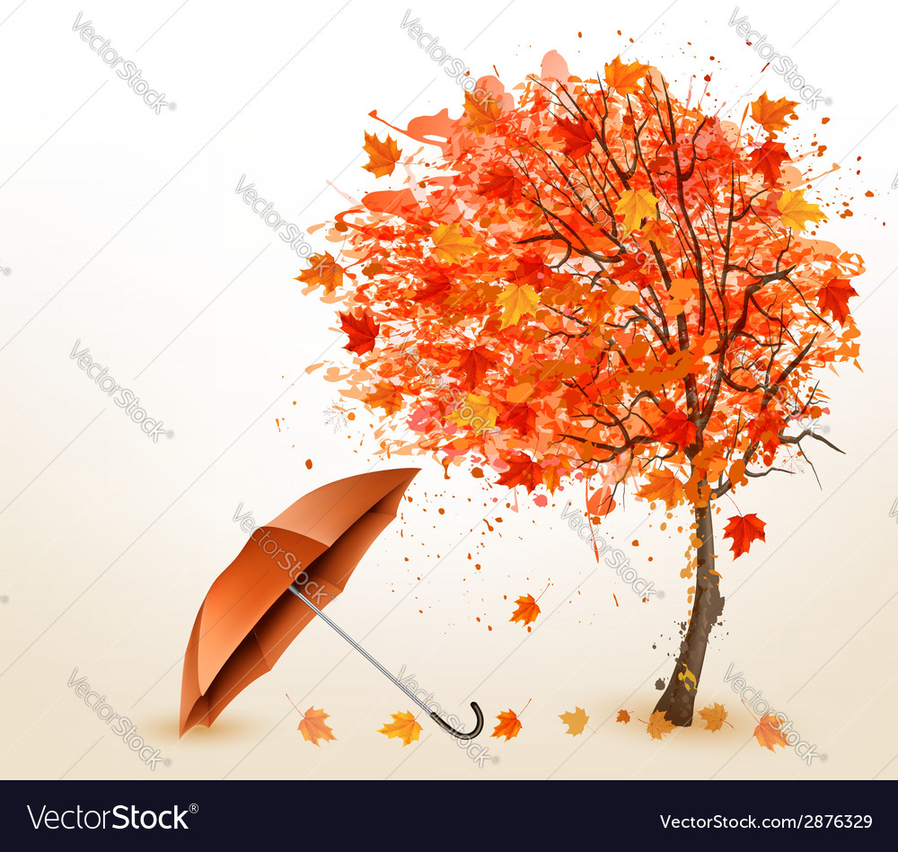 Autumn background with autumn leaves and red vector | Price: 1 Credit (USD $1)