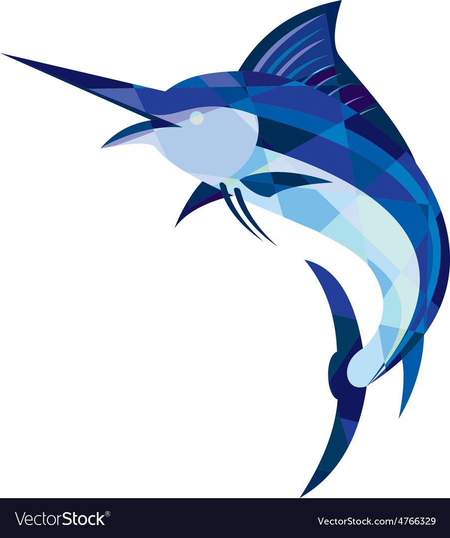 Blue marlin fish jumping low polygon vector | Price: 1 Credit (USD $1)