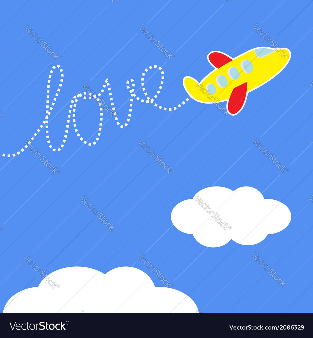 Cartoon plane dash word love in the sky love card vector | Price: 1 Credit (USD $1)