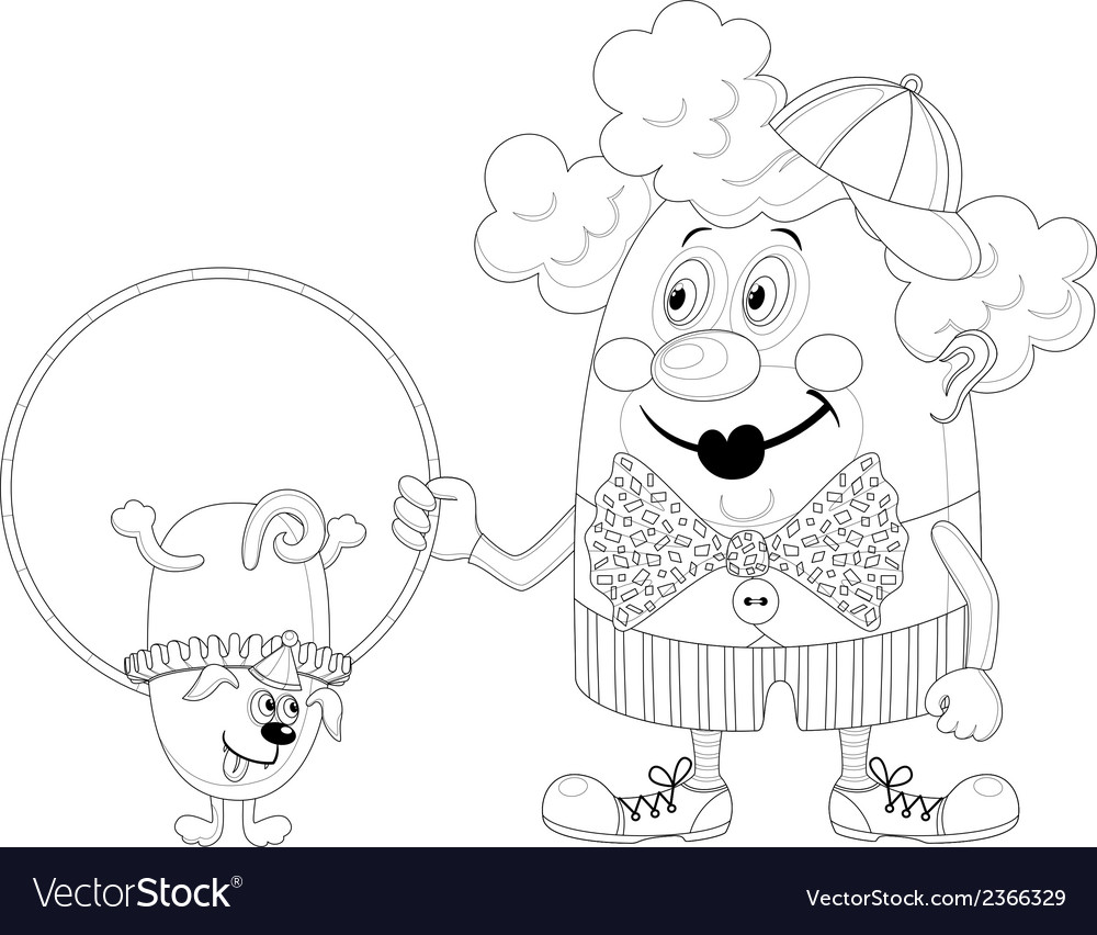 Clown with trained dog contour vector | Price: 1 Credit (USD $1)