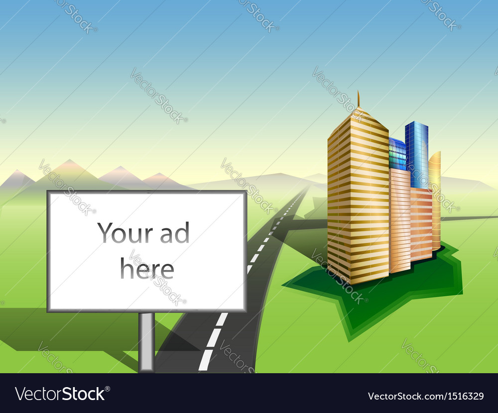 Copy space on billboard cityscape road mountains vector | Price: 1 Credit (USD $1)