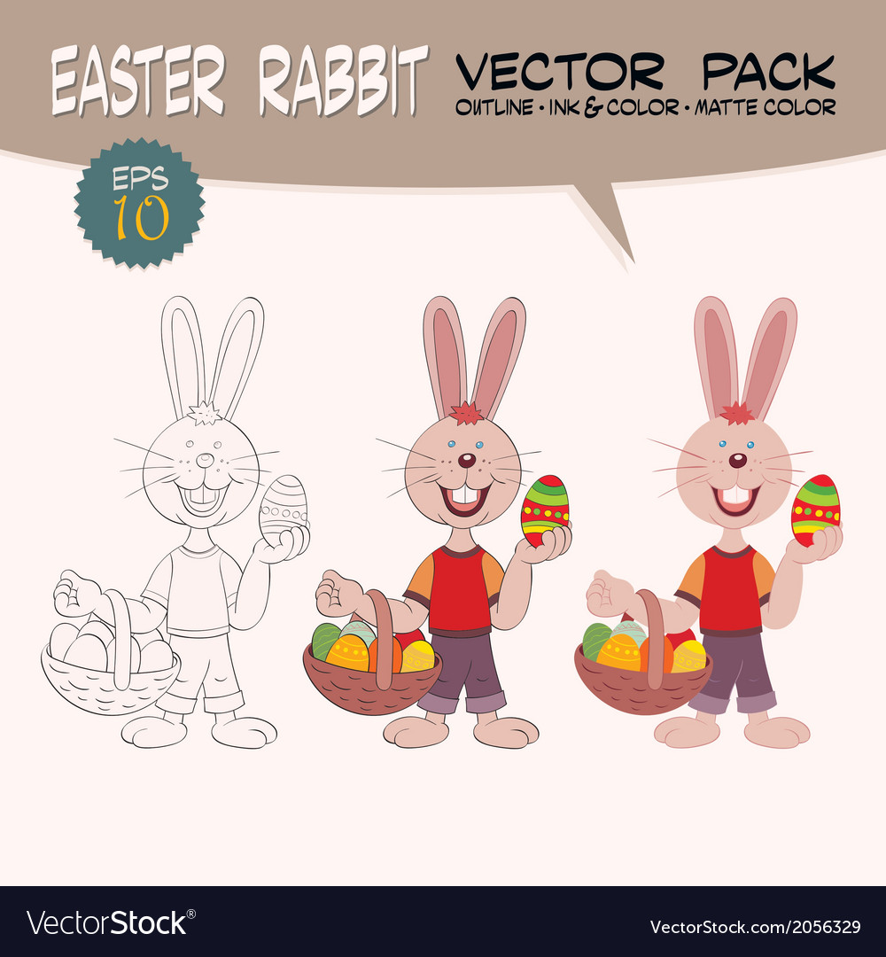 Easter rabbit with painted eggs vector | Price: 1 Credit (USD $1)