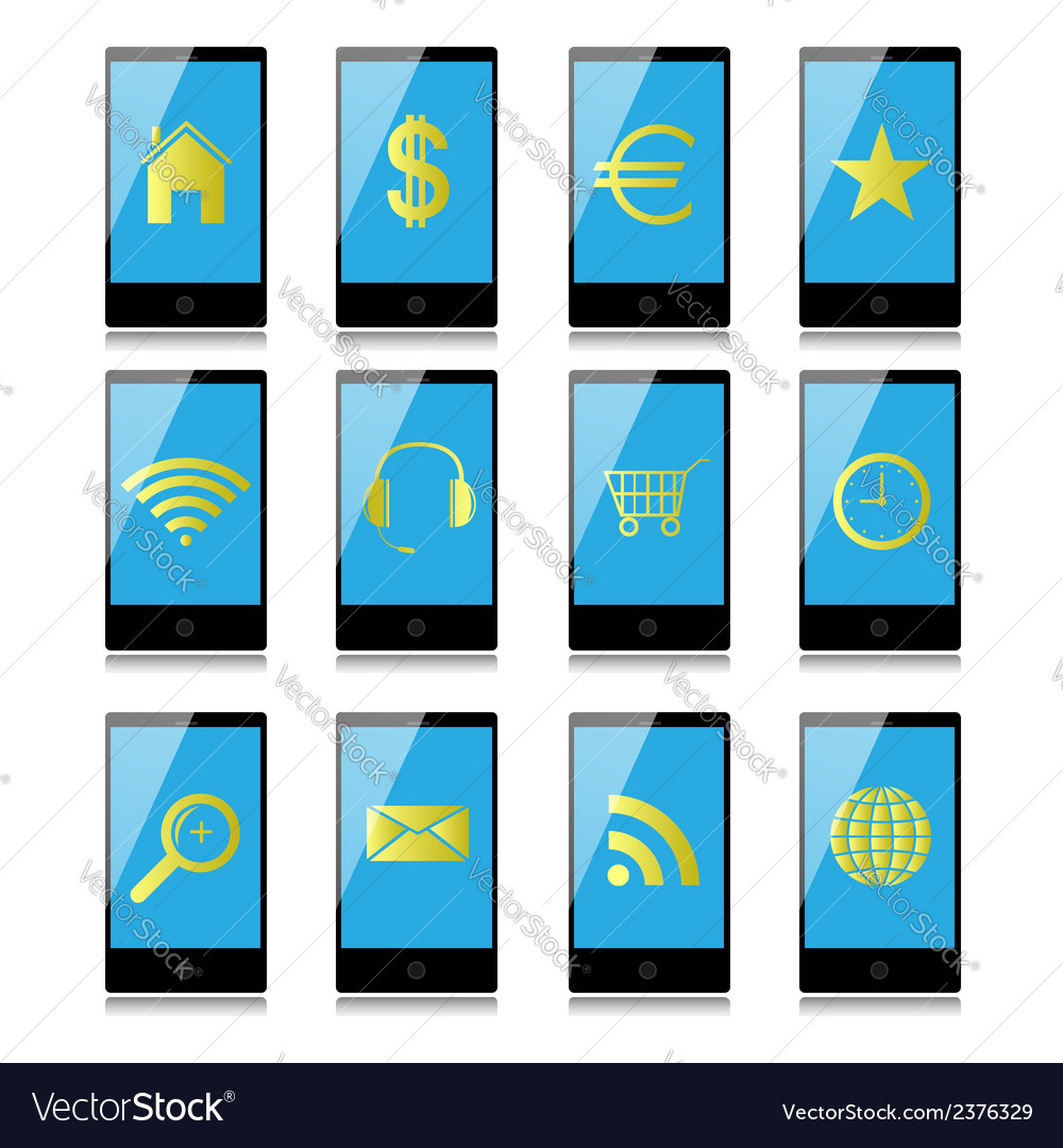 Mobile phone with signs on the screen vector | Price: 1 Credit (USD $1)