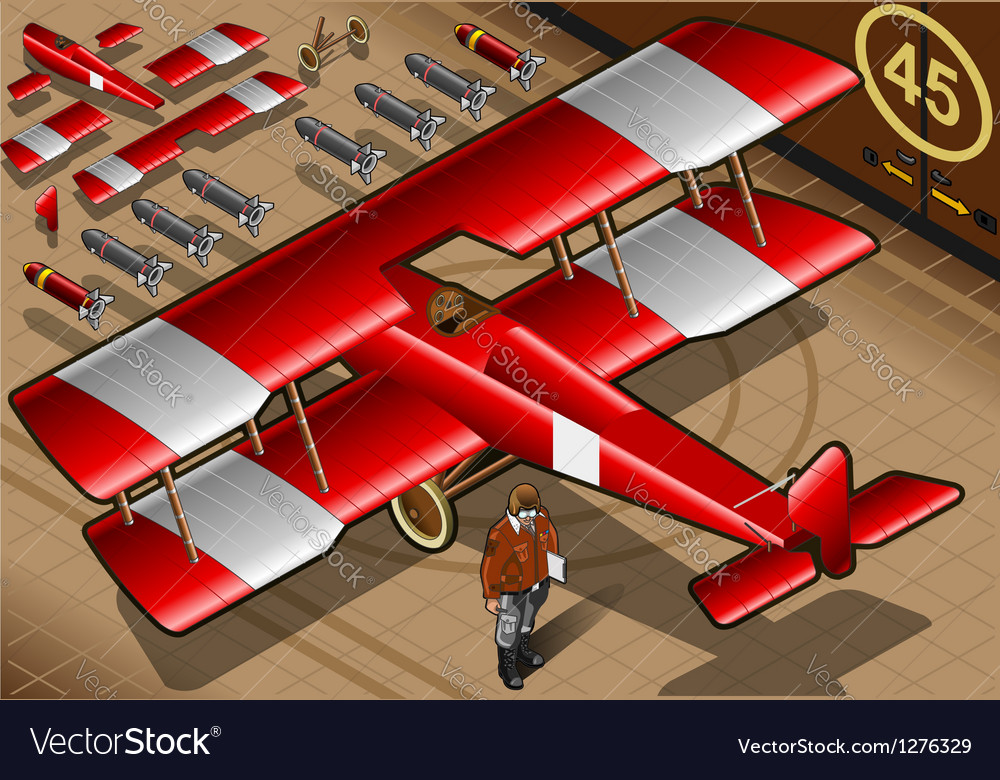 Red biplane vector | Price: 1 Credit (USD $1)